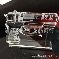 高档水晶手枪创意生日礼物退伍军人纪念品送战友朋友部队礼品赠送
