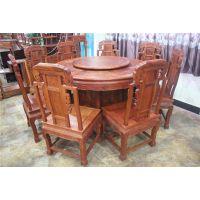 红木家具红木圆台非洲酸枝木圆桌餐桌中式餐厅带旋转实木饭桌餐椅