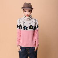 2015冬新款女毛针织衫高领短款打底衫花朵长袖直筒羊毛打底毛衣