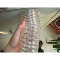 pu透明钢丝软管 通风排烟气 木工业机械抽吸灰尘污塑料橡胶120mm