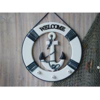 地中海风格救生铁锚工艺品 木质家饰装饰家居摆件挂件带挂钩