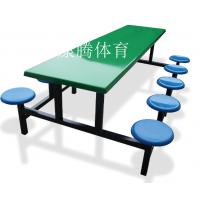 厂家生产玻璃钢连体桌椅 8人位食堂餐桌椅 员工饭堂小吃店快餐桌椅批发康腾体育