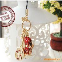 B202 韩版饰品高贵球鞋网球拍金色手机链挂件