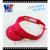 厂家直销夏季红色刺绣五角星纯棉质幼儿园太阳帽 卡通儿童空顶帽