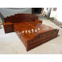 榆木家具 实木双人床带床头柜山水明清 2米仿古中式雕花