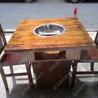 火拼热卖 个性时尚多边形火锅桌 白橡木煤气燃气火锅餐桌椅组合