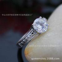速卖通单钻畅销正品白锆铜镀铂金白金结婚戒指戒指欧美外贸加工