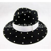 出口纯羊毛呢毡帽 男女礼帽 手工珍珠帽子 工厂支持来样来图定做