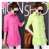 2015春季新款韩版衬衫长袖气质修身时尚百搭上衣显瘦中长款衬衣女