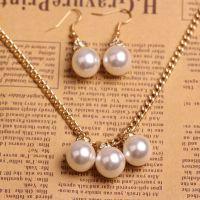 义乌韩版大珍珠首饰套装项链耳环套装新娘结婚头饰首饰套装