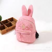 儿童包包韩国款女童可爱趣味铆钉兔子耳朵双肩包菱格背包书包6色