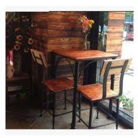 欧诚铁艺餐桌椅组合 咖啡厅桌椅 餐厅桌椅 家用实木餐椅 餐桌