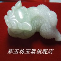 翡翠豆种带翠貔貅吊坠 貔貅批发 翠色貔貅 玉器批发纯手工雕刻玉