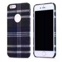 新款情侣iphone6plus格子手机壳露LOGO标志手机壳经典布艺英伦风手机壳