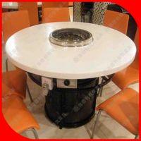 火拼热卖 酒店火锅餐桌 白色大理石餐桌 1.5米1.8米圆桌 厂家定做