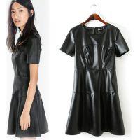 O1025X3欧美风新款时尚纯色修身圆领短袖连衣裙 皮裙