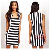 2015欧美速卖通ebay横竖条纹女式连衣裙外贸原单女装批发
