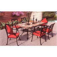 紫灿爱琴海风情铸铝洞石桌面铸铝家具桌椅配置