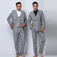 品牌纯色浅灰色男士西服套装 婚礼 商务休闲修身英伦小西装三件套