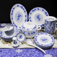景德镇陶瓷器釉中彩韩式青花瓷碗28/56头骨瓷餐具套装碗盘