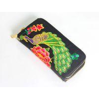 2015新款 民族风双拉牡丹花时尚手拿绣花包 女士包包女式钱包供应