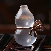 新款天然芙蓉晶小葫芦吊坠镀金项坠粉晶葫芦吊坠女款招财水晶
