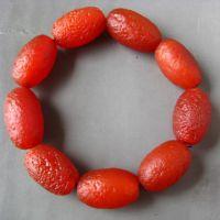 天然老南红玛瑙 手链手串 桶珠 柿子红 辟邪通灵 风化纹 老佛珠