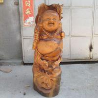 根艺树根 实木家居饰品 香樟木雕弥勒佛摆件 神像 根雕工艺品2572