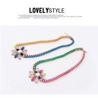 欧美外贸饰品波西米亚风格彩虹编织手工绳项链明星街拍花朵饰品