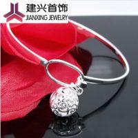 925纯银  饰品批发 韩版时尚 礼物 可爱闭口玲珑球手镯 小球手环