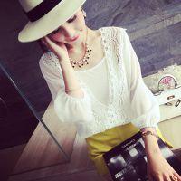 小银子2015夏装新款唯美蕾丝雪纺两件套上衣X