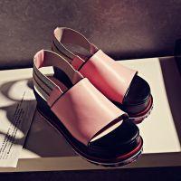 批发夏季潮款厚底真皮凉鞋松紧糖果色松糕底女鞋坡跟休闲学生鞋