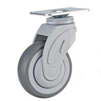 美式全塑医疗轮85kg4寸热塑性橡胶万向脚轮P08-01-100-301G