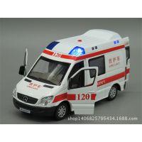 彩珀奔驰救护车120合金车模型玩具回力声光开门混批