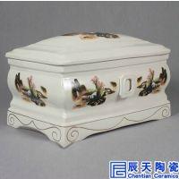 精美陶瓷加大特大骨灰盒福寿骨灰盒带有内衬防潮双盖保护