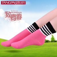 唐派品牌 春季纯棉袜子 女士彩色条纹棉袜 韩国全棉女袜 厂家批发