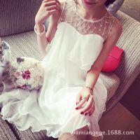小银子2015夏季新款名媛精美水钻仙仙飘逸无袖连衣裙Q4320
