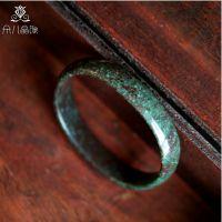 晶尚尊  宽版 天然绿松石手镯 古朴大气 复古 天然水晶 贵妃版