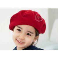 韩版百搭纯羊毛呢贝雷帽儿童潮秋冬天保暖画家帽贝雷帽礼帽亲子帽