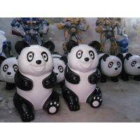 供应深圳玻璃钢动物雕塑-熊猫雕塑