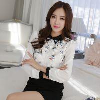 现货实拍 雪纺女春装新款韩版大码女装蕾丝衫打底衫修身休闲衬衫