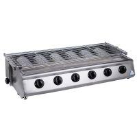 升级款 商用小六头不锈钢片燃气烧烤炉 无烟烧烤炉 烧烤设备
