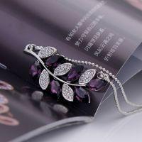 时尚水晶项链 韩国韩版新款镶钻水晶树叶吊坠 闪亮水晶项链 4686