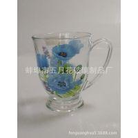 供应高档烤花玻璃杯 花茶咖啡玻璃杯 可定制LOGO