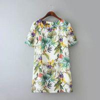 DA.J--RP 欧美新品植物花卉印花直筒加大码百搭短袖连衣裙批发