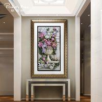 玄关装饰画浮雕画竖版单幅走廊壁画简欧立体背景墙画高档家居挂画