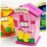 046木制卡通储蓄罐 六一儿童批发文具玩具 小房子存钱筒 165g