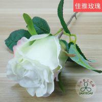 仿真玫瑰花单枝佳雅玫瑰 白色玫瑰白里透红淡雅清香品质保证绢花