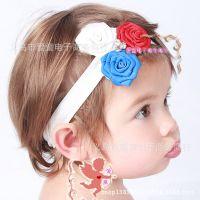 厂家直销儿童发饰批发 三朵花儿童发带欧美玫瑰花宝宝摄影头带