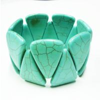 RX365 天然绿松石彩色倒三角形弹力松石手链 天然石手链批发